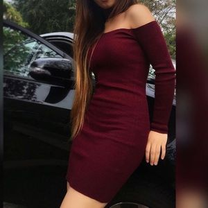 Forever 21 Maroon Ribbed Bodycon Dress